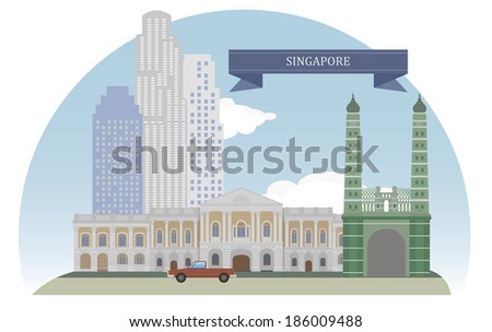 Singapore, Asia. For you design - stock vector