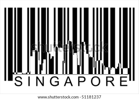 Singapore bar code Isolated over background and groups, vector ILLUSTRATION - stock vector
