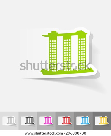 singapore building paper sticker with shadow. Vector illustration - stock vector