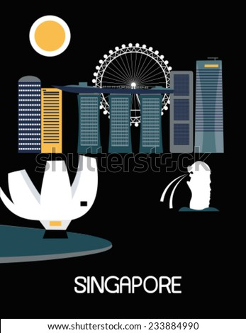 Singapore city on black background. Vector - stock vector