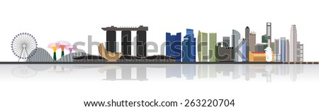 Singapore city skyline  at Marina Bay vector illustration - stock vector