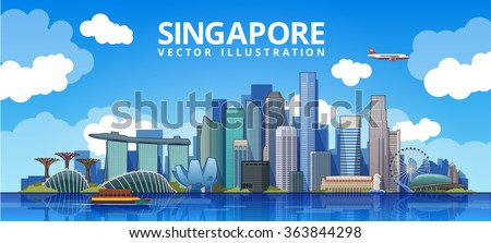 Singapore city skyline. vector illustration  - stock vector