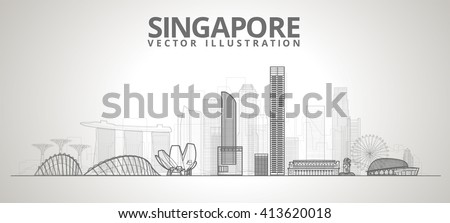 Singapore city skyline. vector line illustration - stock vector