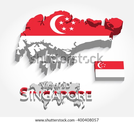 Singapore 3D ( Republic of Singapore ) ( map and flag ) ( transportation and tourism concept ) , singapore is one of AEC ( ASEAN Economic Community )