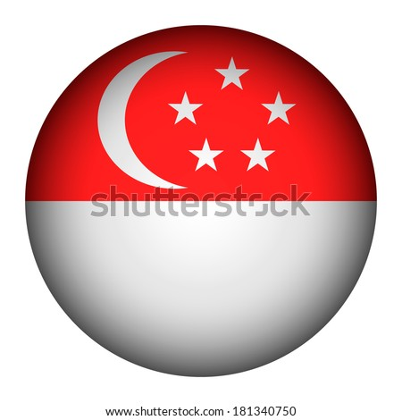 Singapore flag button on a white background. Vector illustration. - stock vector