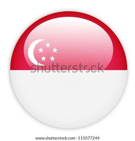 Singapore flag button on white - stock vector