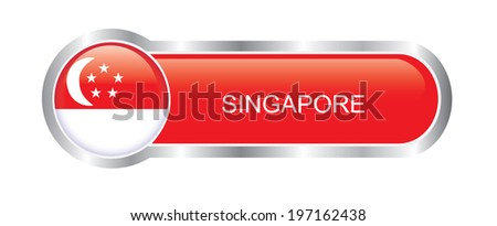 Singapore Flag glossy banner  - stock vector
