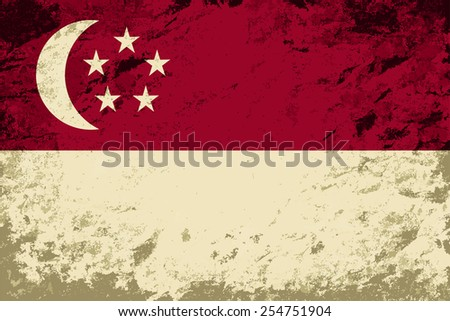 Singapore flag. Grunge background. Vector illustration - stock vector