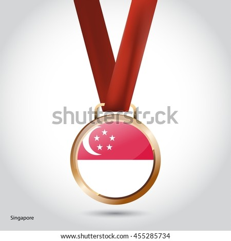 Singapore Flag in Bronze Medal. Vector Illustration. RIO Olympic Game Bronze Medal. Vector Illustration
