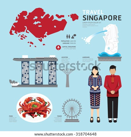 singapore Flat Icons Design Travel Concept.Vector - stock vector