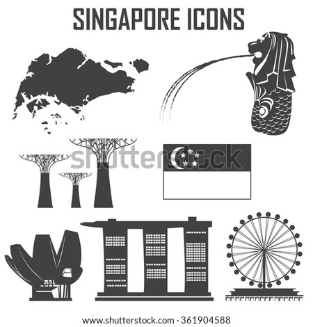 Singapore icon set. - stock vector
