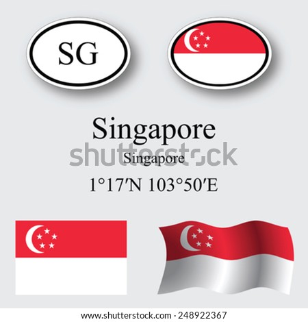 singapore icons set against gray background, abstract vector art illustration, image contains transparency