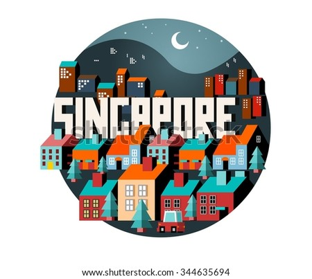 Singapore in asia is a beautiful country to visit. vintage vector illustration. - stock vector