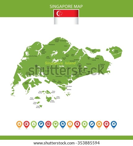 Singapore Map - stock vector