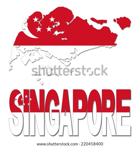 Singapore map flag and text vector illustration - stock vector