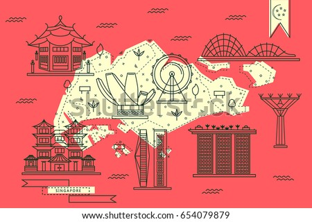 singapore map in flat line design with top rated city attractions in red and yellow