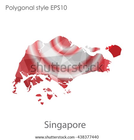Singapore map in geometric polygonal style.Abstract triangle,modern design background.Vector illustration EPS10