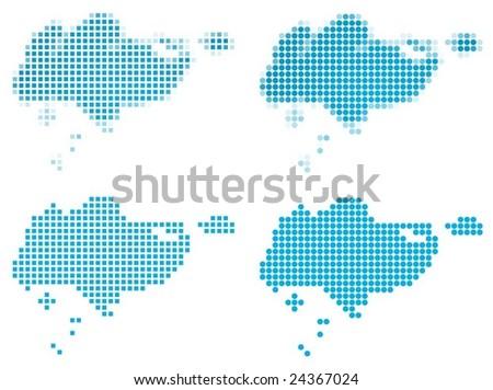 Singapore map mosaic set. Isolated on white background. - stock vector