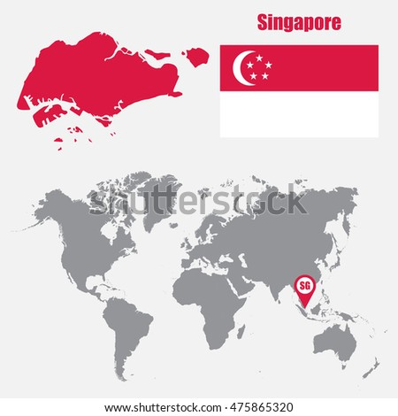 Singapore map on world map flag vector de stock475865320 shutterstock singapore map on a world map with flag and map pointer vector illustration gumiabroncs Image collections