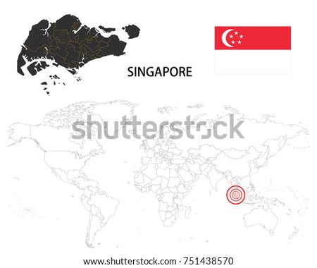Singapore map on world map flag stock photo photo vector singapore map on a world map with flag on white background sciox Images