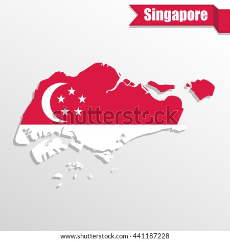 Singapore map with flag inside and ribbon - stock vector