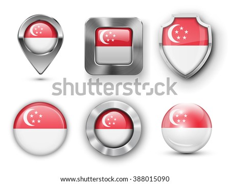 Singapore Metal and Glass Flag Badges, Buttons, Map marker pin and Shields. Vector illustrations - stock vector