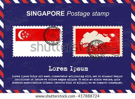 Singapore postage stamp, vintage stamp, air mail envelope. - stock vector