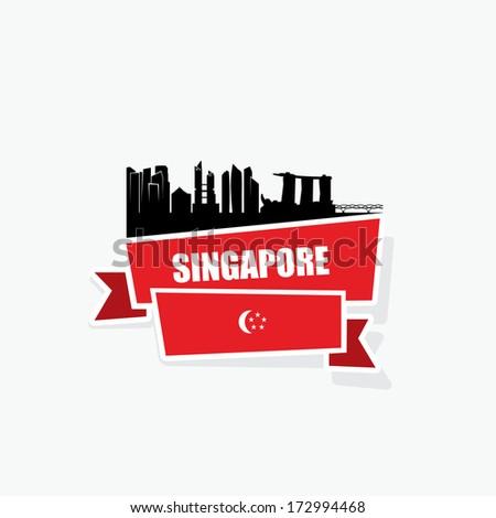 Singapore ribbon banner - vector illustration - stock vector