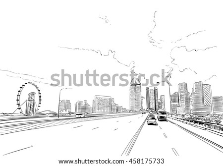 Singapore. Singapore Flyer. Unusual perspective hand drawn sketch. City vector illustration