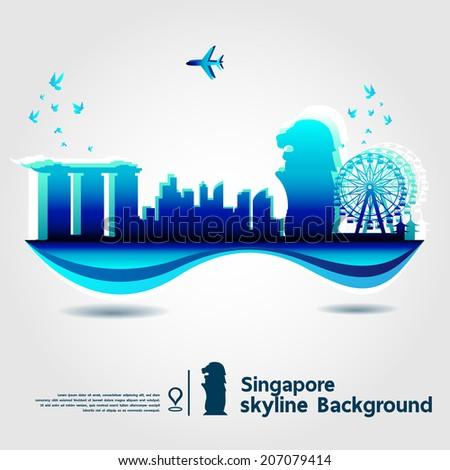 Singapore, skyline background, vector Illustration - stock vector