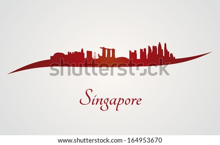 Singapore skyline in red and gray background in editable vector file - stock vector