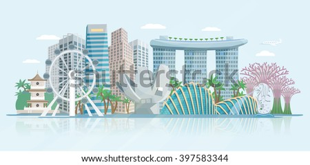 Singapore skyline panoramic view with modern central business district skyscrapers and historical temple building abstract vector illustration - stock vector