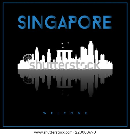 Singapore, skyline silhouette vector design on parliament blue and black background. - stock vector