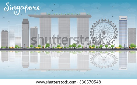 Singapore skyline with grey landmarks, blue sky and reflections. Business travel and tourism concept with place for text. Image for presentation, banner, placard and web site. Vector illustration - stock vector