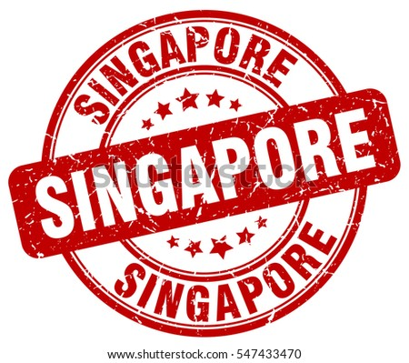 Singapore. stamp. red round grunge vintage Singapore sign