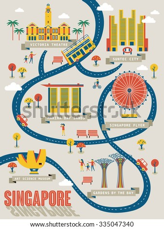 Singapore travel map with lovely attractions in flat design  - stock vector