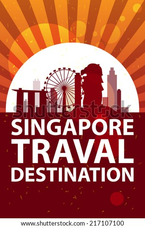 singapore travel vector - stock vector