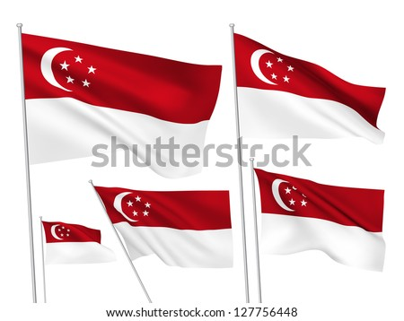 Singapore vector flags. A set of 5 wavy 3D flags created using gradient meshes - stock vector