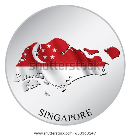 Singapore vector sticker with flag and map label round tag with country name