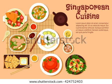 Singaporean seafood with chilli crab and nasi lemak rice, flatbread roti prata served with tartar sauce, fish head and mussel curries, pork rib soup and shrimp salad, herbal and iced black tea