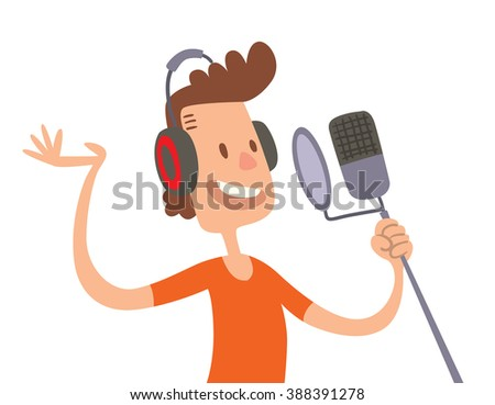Singer cartoon boy flat illustration. Singer cartoon character with microphone isolated on white background. Singer and microphone. Singer boy cartoon style. - stock vector