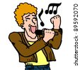 Singer draw - stock vector