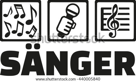 Singer icons with german word - stock vector