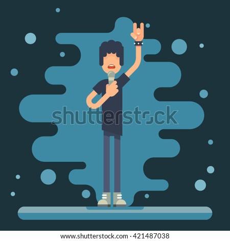 Singer performer soloist Hard Rock Heavy Folk Music Background Concept Flat Design Vector Illustration - stock vector