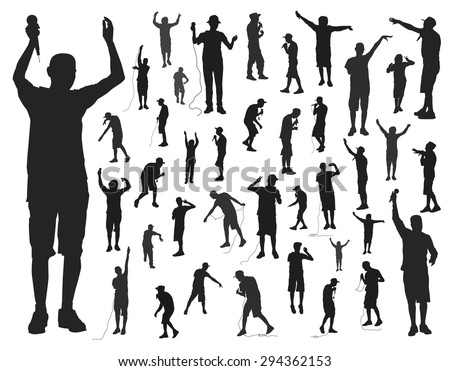 singer silhouettes on white background