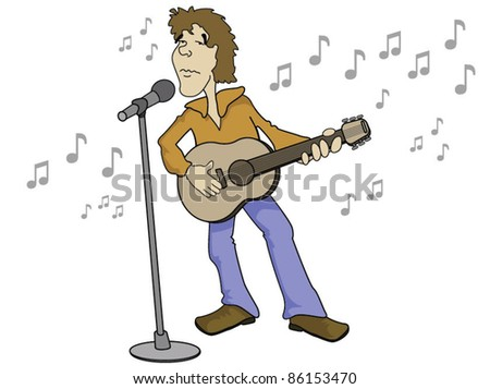Singer with Guitar and Microphone - stock vector