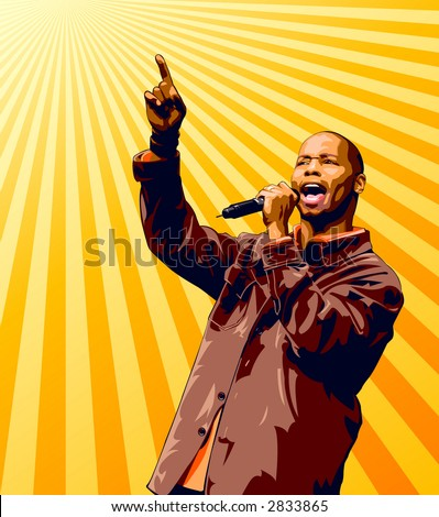 Singer with microphone raising hand over a sunburst background. - stock vector