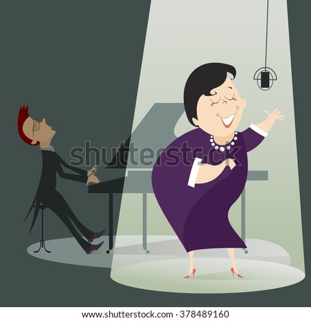 Singer woman and a pianist in the concert. Singer woman sings in the spotlight with a pianist on the back side  - stock vector