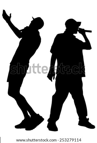 Singers, men in rap style on white background - stock vector