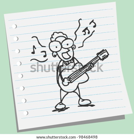 singers play guitar doodle illustration - stock vector